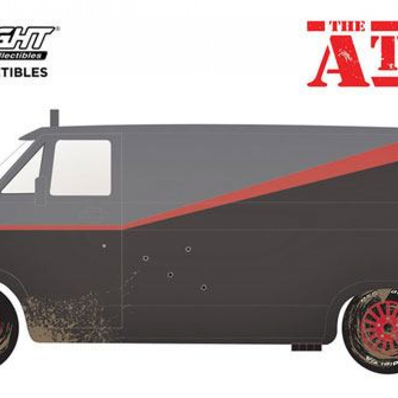 A-Team Diecast Model 1/24 1983 GMC Vandura Weathered Version with Bullet Holes