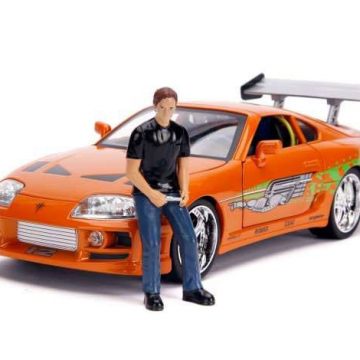 Fast & Furious Diecast Model 1/18 1995 Toyota Supra with Figure Brian with Light-Up Function