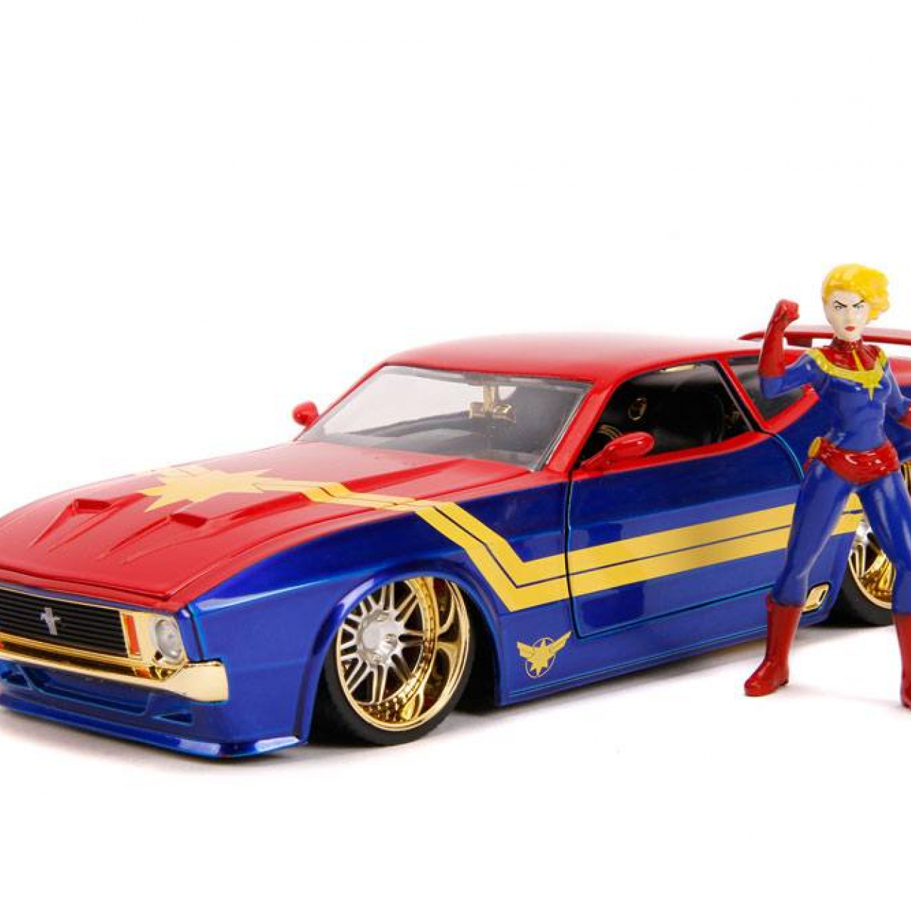 Marvel Hollywood Rides Diecast Model 1/24 1973 Ford Mustang Mach 1 with Captain Marvel Figure